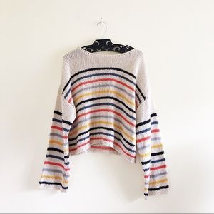 0af5bbc0f0 Love Stitch Sweaters - LOVE STITCH Cream Rainbow Striped Sweater